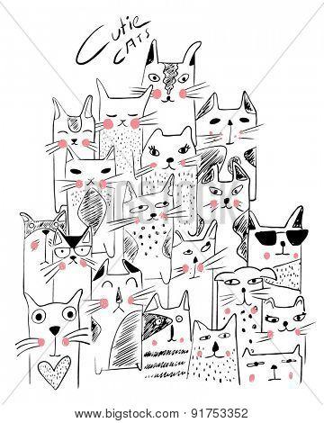 cats illustration sketch