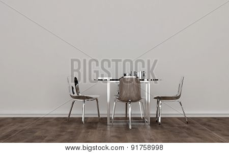Contemporary Silver Colored Metal Dining Room Set with Shiny Table and Chairs in Sparsely Decorated Room with White Wall and Wood Floor. 3d Rendering.
