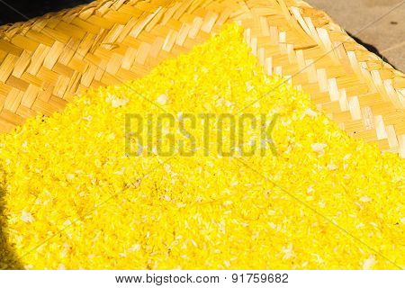 Cooked Yellow Rice In Moven From Palm Leaves Bowl
