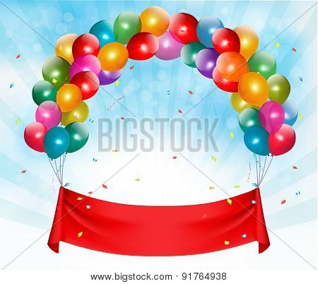 Happy birthday banner background with ballons. Vector. poster