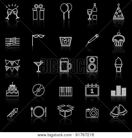 New Year Line Icons With Reflect On Black