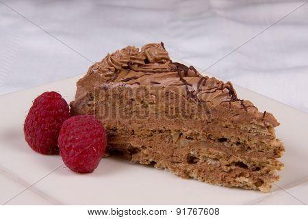 Cake Chocolate With Raspberries