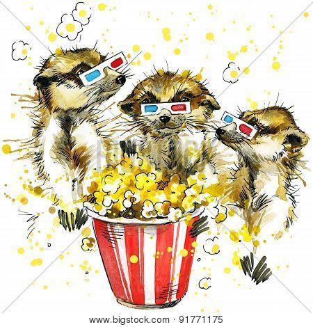 Funny meerkat watercolor background