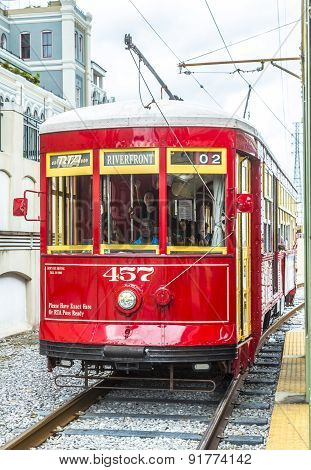 Streetcar Serving Riverfront Line In New Orleans