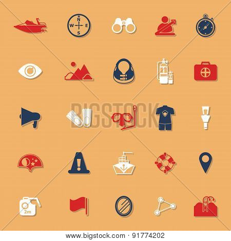 Waterway Related Classic Color Icons With Shadow