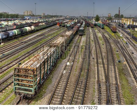 Ready For Delivery Freight Wagons Classification Yard Of Russian Railways.