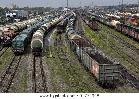 Empty Cargo Trains And Fuel Tankers, Classification Yard, Russian Railways.