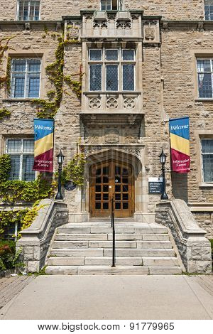 KINGSTON, CANADA - AUGUST 2, 2014: Entrance to Welcome Center in Students Memorial Union building on Queen's university campus in Kingston, Ontario, Canada.