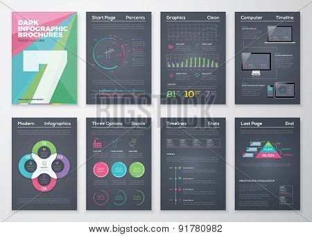 Black infographic templates in business brochure style