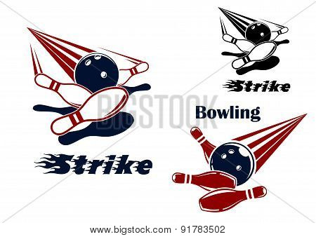 Bowling strike emblems with balls and ninepins