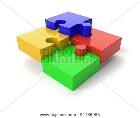 Jigsaw Puzzle On White