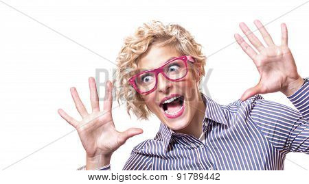 Agressive Funny Woman Pulling A Face And Sreaming, Isolated On White Background. Close Up Studio Sho