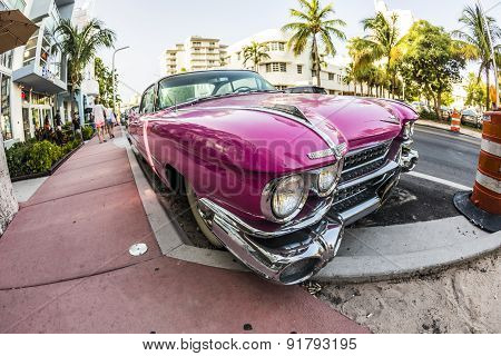 Cadillac vintage car parked ocean image photo bigstock cadillac vintage car parked at ocean drive in miami beach voltagebd Image collections
