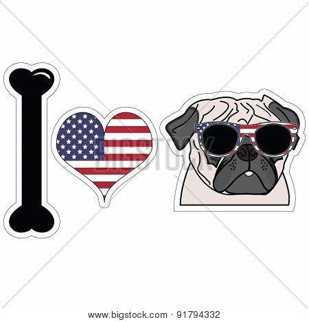 I Love Pug With American Symbols.