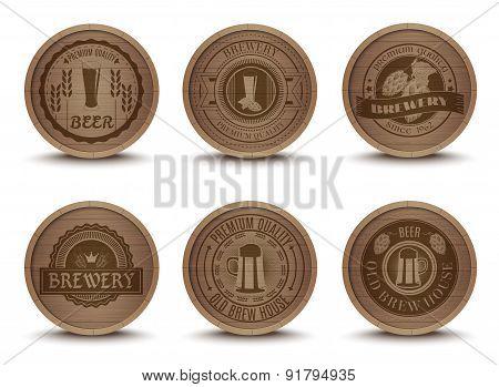 Wooden beer emblems mats icons set