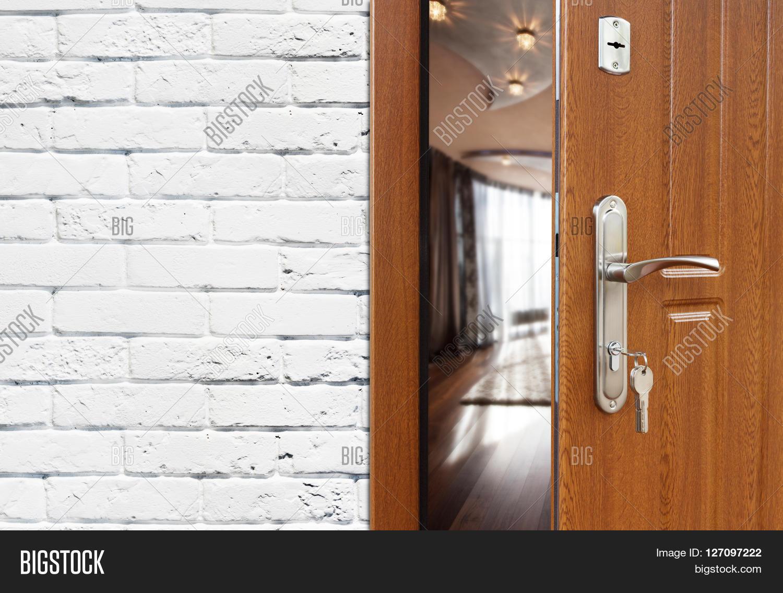 Half opened door to a living room. Door handle door lock. Lounge door  sc 1 st  Bigstock & Half Opened Door Living Room. Door Image \u0026 Photo   Bigstock