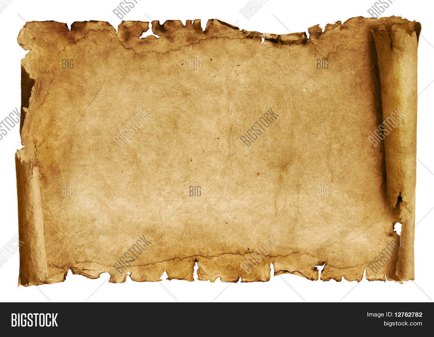 Fondo De Papel Viejo: Old Paper Scroll Isolated On White Image & Photo