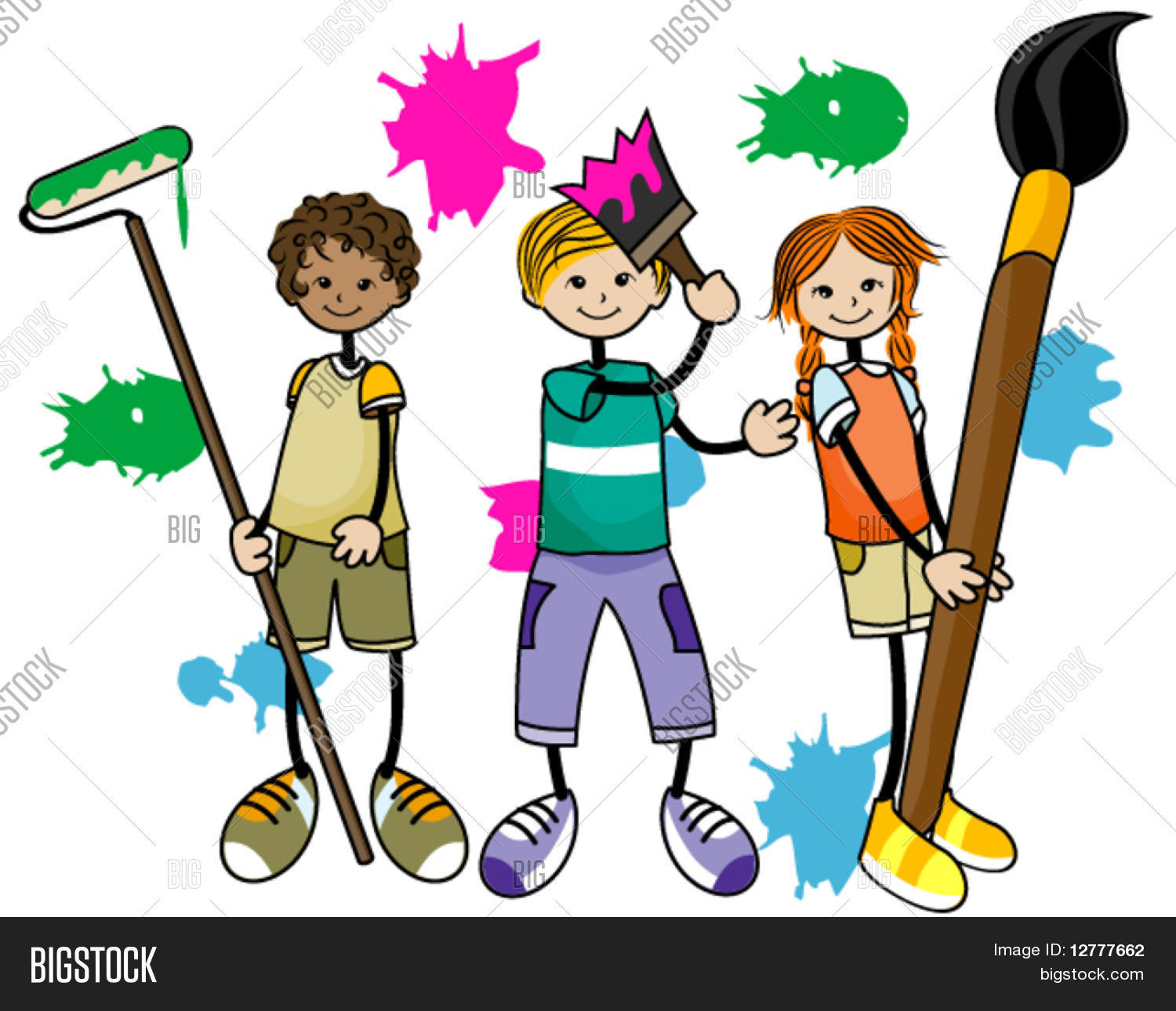 Painting Kids - Vector & Photo (Free Trial) | Bigstock