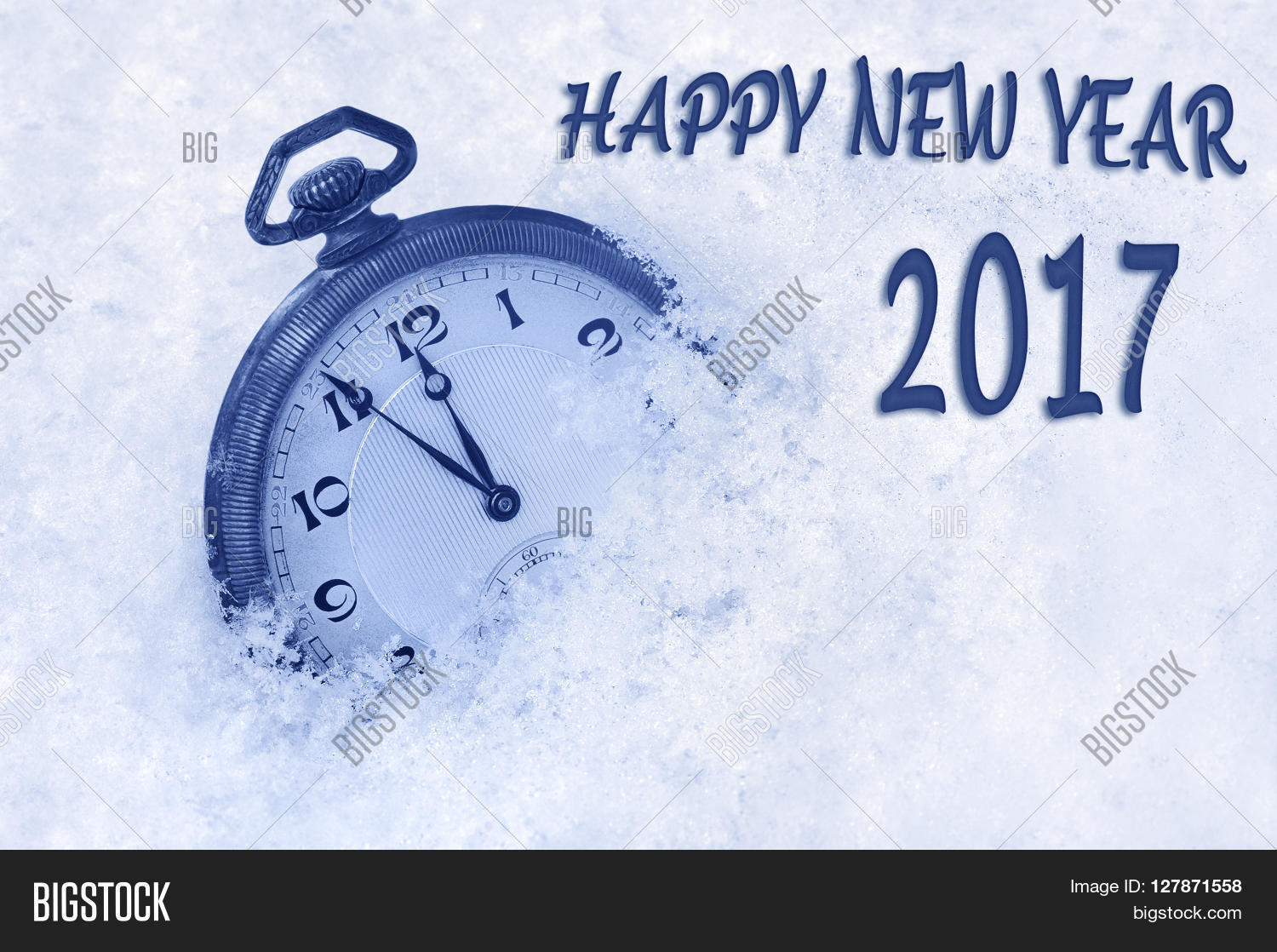 New year 2017 greeting image photo free trial bigstock new year 2017 greeting in english language pocket watch in snow happy new year m4hsunfo