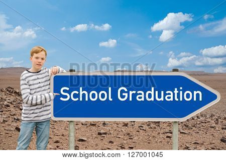 Child shows the direction for the European Baccalaureate