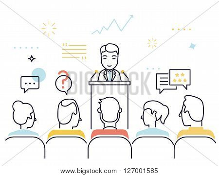 Flat line design style modern vector illustration concept of customer relationship management support and feedback crm consultation and assistance - vector illustration