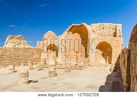 The ruins of the ancient city. Shivta, Nabataean Town on the ancient spice route in the Negev Desert, Israel