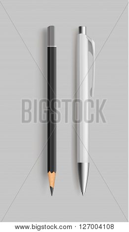 Pencil and pen. Vector illustration. Pensil and pen realistic for idetity design.