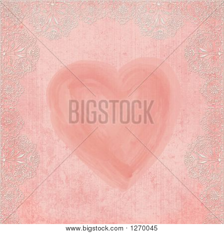 Background Heart With Lace
