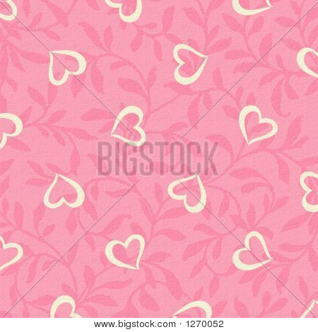 Background White Hearts On Pink Leaves