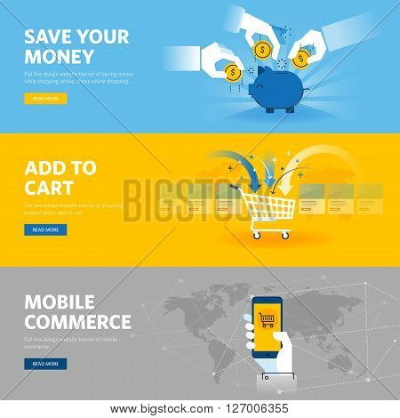 Set of flat line design web banners for mobile commerce, banking and savings, online shopping, m-banking. Vector illustration concepts for web design, marketing, and graphic design.
