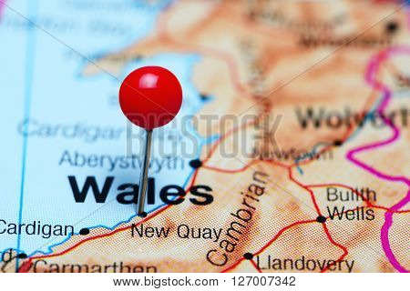 New Quay pinned on a map of Wales poster