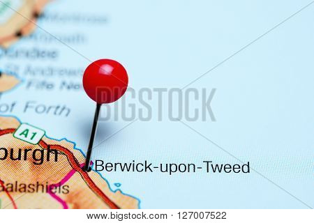 Berwick-upon-Tweed pinned on a map of UK