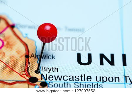 Blyth pinned on a map of UK