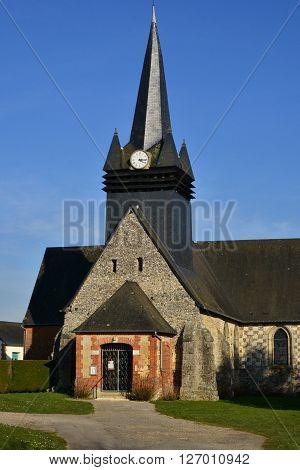 Fleury la Foret France - march 15 2016 : the picturesque Saint Denis church