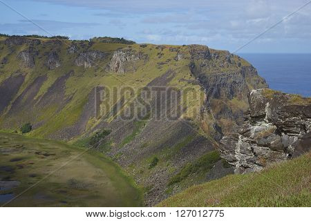 Caldera of the extinct volcano Rano Kau within the UNESCO World Heritage Site of Rapa Nui National Park on Easter Island.