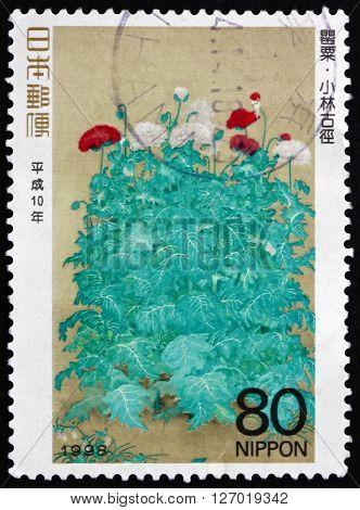 JAPAN - CIRCA 1998: a stamp printed in the Japan shows Poppies Painting by Kokei Kobayashi Philately Week circa 1998