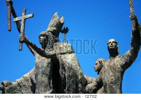 Very Old Sculpture In Old San Juan