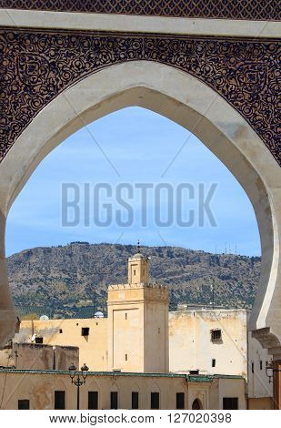 Urban scenic of Fes from the Bab Rcif gate. Morocco