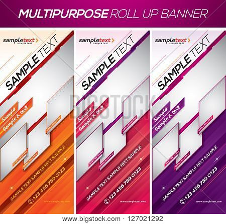 Multipurpose roll up banner. This template available in 3 different color schemes. Suitable for your product display or corporate promotion