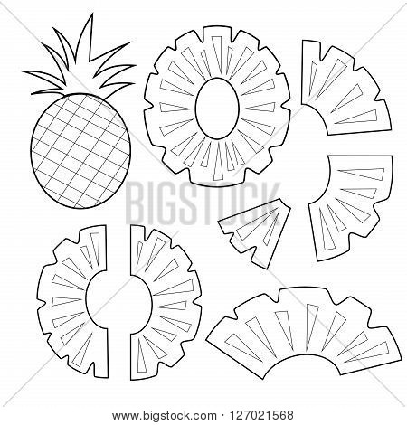 Pineapple fruit outline version for coloring book vector illustration isolated on white background