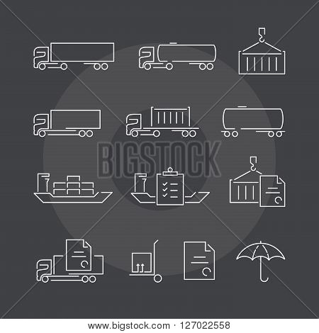 Logistics thin line icons set on dark background. Exceptional elegant linear logo concept. 