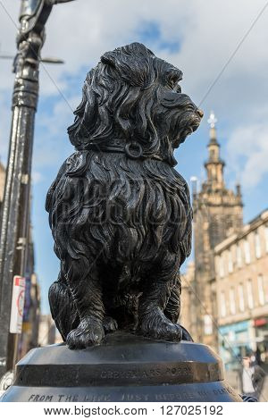 A statue of Bobby a Skye Terrier who became famous in Edinburgh for sleeping on the grave of his master