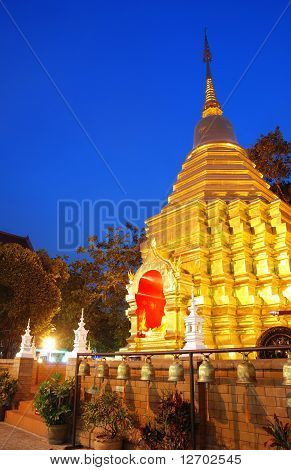 Buddhist temple by night