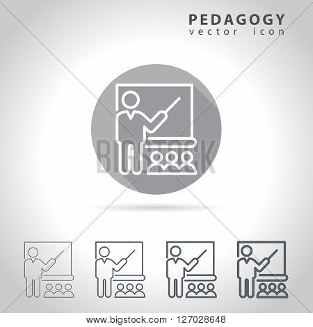 Pedagogy outline icon set, collection of education icons, vector illustration