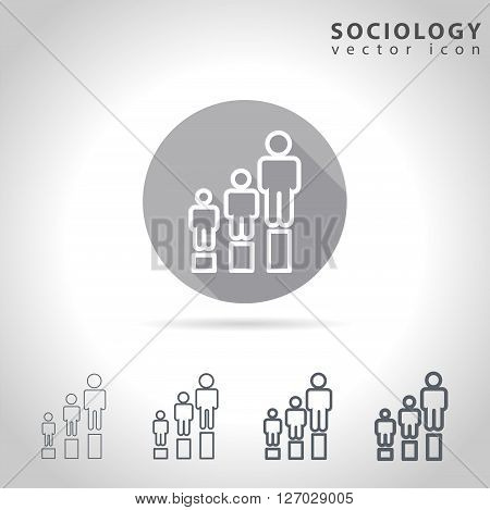 Sociology outline icon set, collection of human figure charts, vector illustration