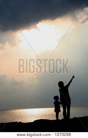 Silhouette Mother & Daughter
