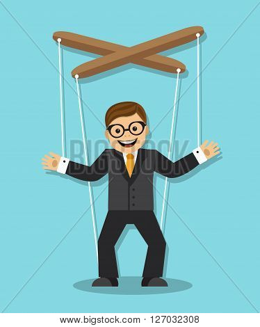 cheerful businessman does not know what he is puppet