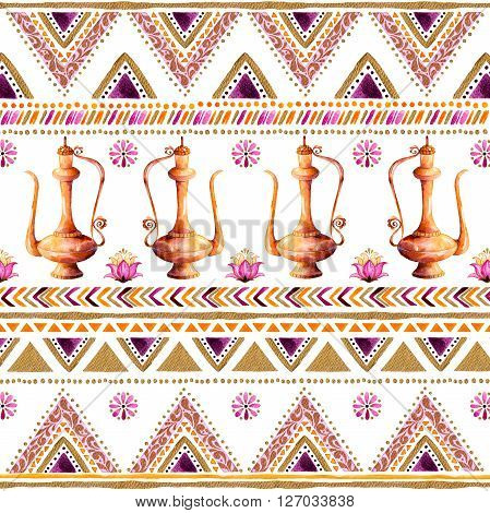 Colorful gold-purple handpainted backdrop,arabic or Indian decorative watercolor  texture