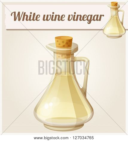 White wine vinegar. Detailed Vector Icon. Series of food and drink and ingredients for cooking.