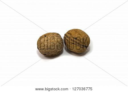 two ripe walnuts with a sturdy shell